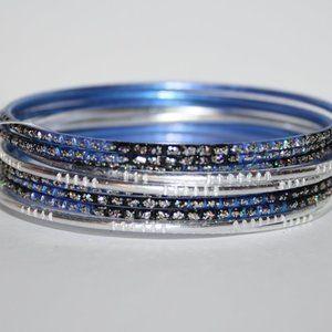 Silver and blue NWT Bangle bracelet set
